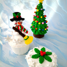 雪人翻糖杯蛋糕