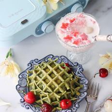 抹茶华夫饼、水果西米露