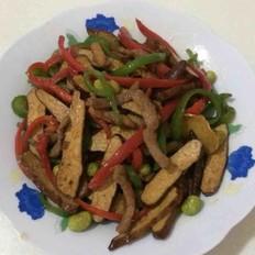 香干毛豆肉丝炒双椒