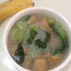 油豆腐青菜粉丝汤