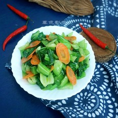 油菜炒胡萝卜