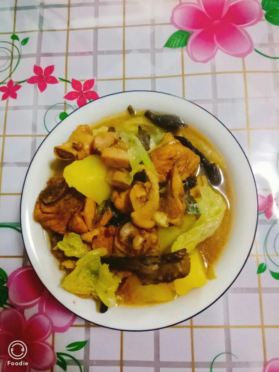 白菜炖鸡肉