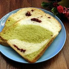 抹茶蔓越莓双色面包