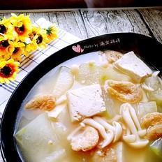 冬瓜海米鲜蘑豆腐汤