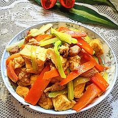 西芹胡萝卜焖豆腐