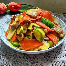 肉片炒西葫芦