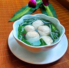 蚕菜肉丸汤