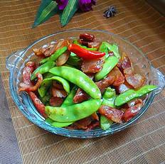 腊肠腊肉炒荷兰豆