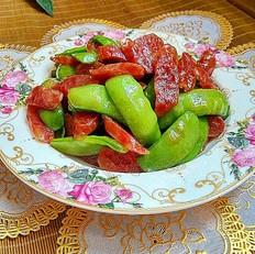 广式腊肠炒荷兰豆