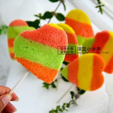 彩虹爱心蛋糕