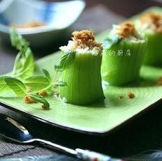 做一份别致又美味的清鲜爽口菜--【火腿虾米酿丝瓜】