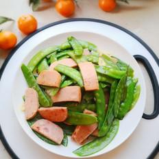 家常快手菜之荷兰豆炒午餐肉