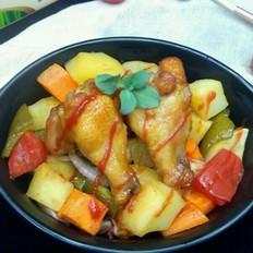 黑椒彩蔬烤鸡腿