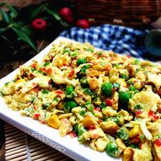 鸡蛋烩虾仁银鱼豌豆玉米粒