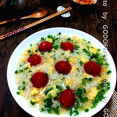 韭菜鸡蛋番茄泡饭