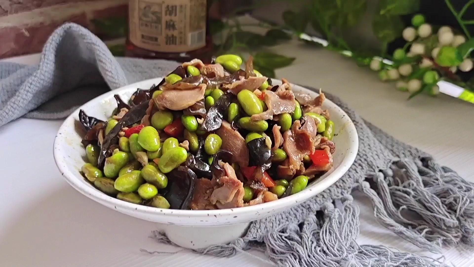 简单开胃下饭菜…毛豆炒鸡肫的做法