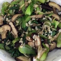 香菇油菜炒海米(无油版)