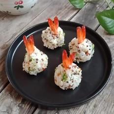 三色藜麦虾仁饭团