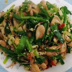 韭菜炒鲜河虾