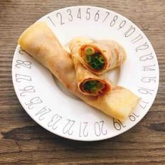 玉米薄饼卷葱