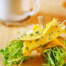 葱花蛋豆苗卷饼