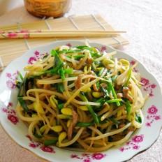 韭菜豆芽炒肉丝
