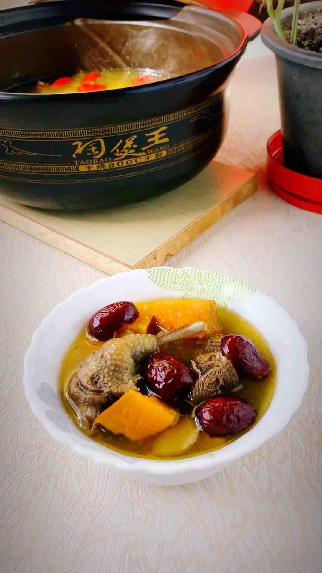 南瓜红枣炖乳鸽