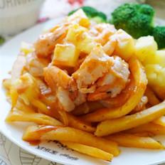 菠萝鲜虾薯条小食