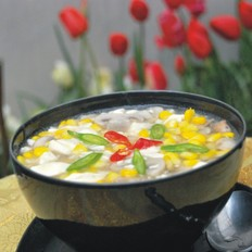 粟米磨菇烩豆腐