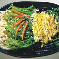金针菇蛋皮丝拌菠菜