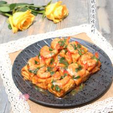 美味的脆皮豆腐烩大虾