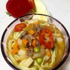 杂蔬牛肉汤面