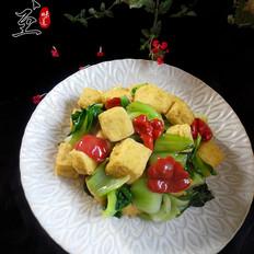 油菜炒豆腐泡