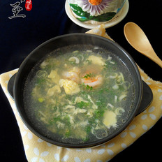 荠菜虾仁鸡蛋汤