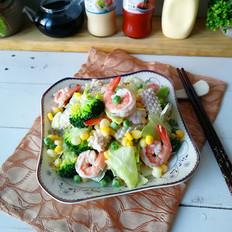 蔬菜海鲜沙拉#丘比沙拉汁#的做法