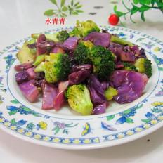 紫甘蓝炒西兰花