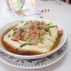 生抽肉末蒸豆腐