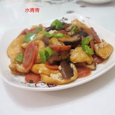 青椒香肠油豆腐丝