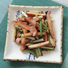 素火腿炒蒜苔