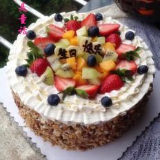 核桃鲜果生日蛋糕