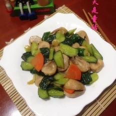青瓜炒草菇