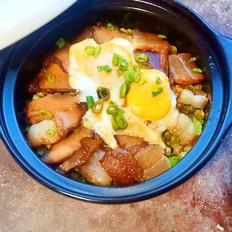 砂锅胚芽米腊肠青豆饭