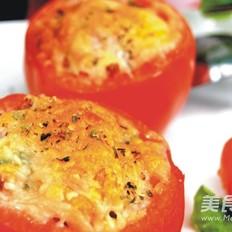 奶酪焗红米炒饭番茄盅