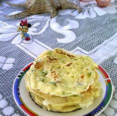 鸡蛋葱香豆渣松饼