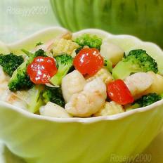 扇贝肉虾仁炒时蔬的做法