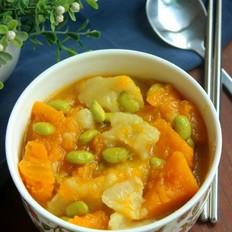 南瓜毛豆疙瘩汤的做法
