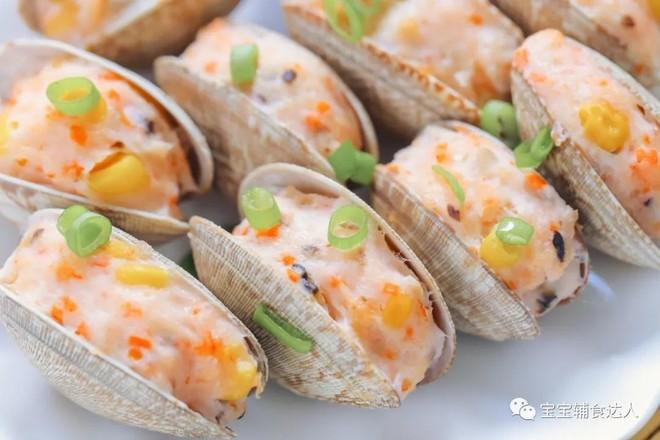 蛤蜊酿虾【宝宝辅食食谱】的做法
