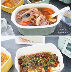莲藕花生排骨鸡爪汤+酒酿南瓜+皮蛋豆腐