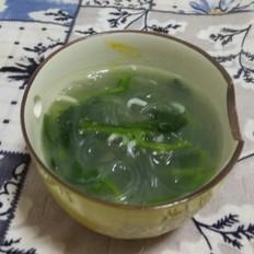 菠菜虾皮粉条汤晚餐