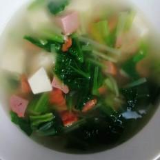 小白菜肉丸豆腐汤